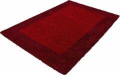 Himalaya Basic Shaggy Kader vloerkleed Rood Hoogpolig- 80x150 CM