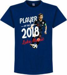 Blauwe merkloos sans marque modric voetballer van het jaar 2018 t shirt navy