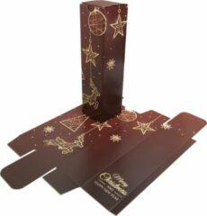 """Presentdoosjes.nl Presentdoosje Wijndoos """"Merry Christmas Happy New Year"""" rood/goud: 8 x 8 x 30cm (10 stuks)"""
