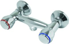 Zilveren Plieger Start Douchekraan - 2 knops - zonder omstel - 15 cm hartafstand - Chroom