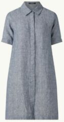 Donkerblauwe OPUS Welika mini blousejurk van linnen met steekzakken