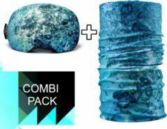 Lichtblauwe Goggle Protect Combipack | Skibril | Bandana | Sjaal | Beschermhoes | Cover | Skihelm | Wintersport | Ski | Snowboard | Mondmasker