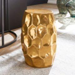 Wohnling Beistelltisch JADA 30x47x30cm Aluminium Gold Dekotisch orientalisch rund Kleiner Hammerschlag Abstelltisch Designer Ablagetisch Metall mode