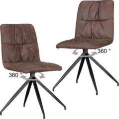 Wohnling 2er Set Design Esszimmerstühle HERRY im Retro Design Polsterstühle braun Küchenstühle Vintage Bezug gepolstert mit Rückenlehne Drehstühle M