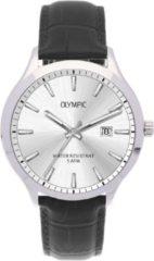 Olympic OL88HSL005 Horloge Cleveland staal-leder zilverkleurig-zwart-wit 42 mm