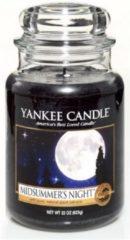 Donkerblauwe Yankee Candle Midsummer's Night geurkaars - 18 x 10 cm - Fris
