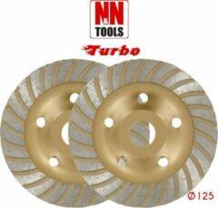 N&N Tools Turbo Diamantdoorslijpschijf Bias Cup Professional Multi Pack - 2 x 125 mm | Wet & Dry