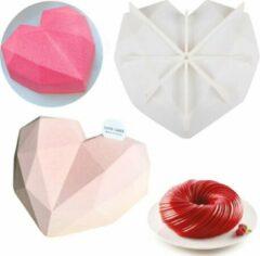 Witte MTCE Siliconen mal Hart - 3D Diamanten Hart- 3D Bakvorm -Heart Mold - Smash Heart - Valentijn hart