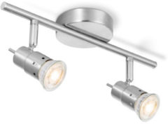 Light Depot-LED Opbouwspot Cilindro-2 lichts-Mat Staal-B 32 cm-Industrieel