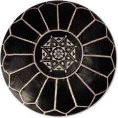 Zwarte See The Good Leren Poef - Donker - Handgemaakt en stijlvol - Gevuld geleverd