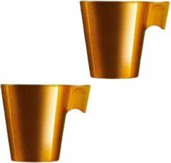Goudkleurige Luminarc Set van 2x stuks lungo koffie bekers goud metallic 220 ml - Koffiemokken in stijl