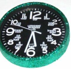 Leerzameklokken.nl Leer klokkijken-leerzame kinder klok- glitter wandklok Groen/Zwart 20 cm