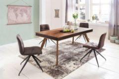 Wohnling Esszimmertisch KARAN Kunstleder Massivholz Sheesham 200 x 76 x 100 cm Holztisch im rustikalen Landhaus-Stil Küchentisch rechteckig groß mas