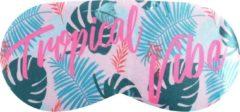 Sundaze - Slaapmasker Tropical Vibe - Oogmasker Groen/Roze - 1 x 9 x 19,5 cm - Satijn