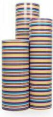 Blauwe VerraXL Cadeaupapier Gekleurde lijnen - Rol 70cm - 200m - 70gr   Winkelrol / Apparaatrol / Toonbankrol / Geschenkpapier / Kadopapier / Inpakpapier