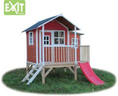 Rode EXIT Loft 350 speelhuisje met glijbaan - rood