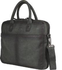 """Antraciet-grijze Sparwell Tas - Lederen laptoptas 14"""" inch - Aktetas - Handtas - 100% Leer - Zwart / Antraciet"""