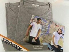 Grijze Trooxx T-shirt 3x 2 pack, 6 stuks - Round Neck - Kleur: Grey - Maat: M