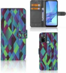 B2Ctelecom Bookcase OPPO A53 | OPPO A53s Hoesje Abstract groen Blue