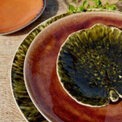 Costa Nova Riviera - servies - schaaltje blad medium- donkergroen - aardewerk - set van 6 - H 2,4 cm