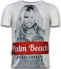 Witte T-shirt Korte Mouw Local Fanatic Palm Beach Pamela - Digital Rhinestone T-shirt