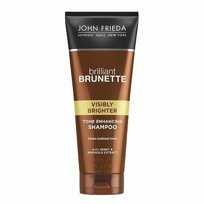 Afbeelding van John Frieda Briliant Brunette Visibly Brighter Shampoo 250 ML – 20x6x4cm | Conditioner voor Vrouwen | Bruin Haar | Haarverzorging