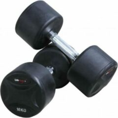 Zwarte LifeMaxx Vaste rubberen dumbbellset (2 stuks per set) - 2kg