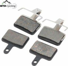 MTB Cycling B01S standaard remblokken set 4 stuks voor + achter voor o.a. Shimano Altus/Alivio/Deore /Tektro / BBS-52 - inclusief schijfremblokveer - Zwart