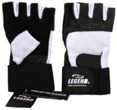 Legend Sports Fitness Handschoen Leder Zwart/wit Legend Maat L