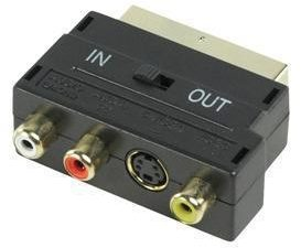 Afbeelding van Zwarte Goobay AVK 196 G 3x RCA 4-pin mini DIN kabeladapter/verloopstukje