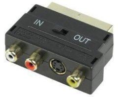 Zwarte Goobay AVK 196 G 3x RCA 4-pin mini DIN kabeladapter/verloopstukje