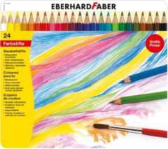 Aquarelpotlood Eberhard Faber Metalen Etui A 24 Stuks Met Penseel