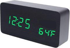 ALOALO Houten Digitale Klok - Multifunctioneel - USB- Batterijen - Groene led - 15 CM