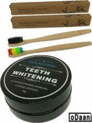 Zwarte ODaani Activated Organic Charcoal 30 Gram - Inclusief 2 Bamboe Tandenborstels - Milieuvriendelijk - Recyclebaar
