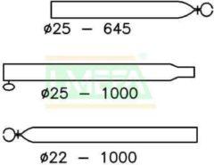 Zilveren Campking verandastok staal 25/22 - 170-250 cm- A