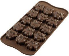 Bruine Silikomart Chocolade Mal Gufi Owls