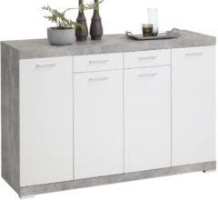 FD Furniture Dressoir Bristol 44 XL van 160 cm breed in grijs beton met wit