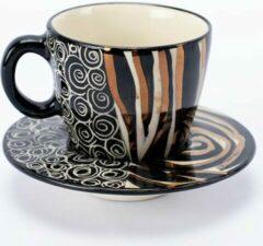 Goudkleurige Espresso kopjes - Koffiekop en Schotelset - Koffiekopjes - Model: Zebra Zwart-wit-goud   Handgemaakt in Zuid Afrika - hoogwaardig keramiek - speciaal gemaakt door Letsopa Ceramics voor Nwabisa African Art