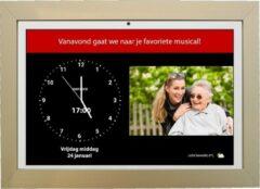 Dayclocks DayClock10 Duo Wit met Gouden Lijst; Klok/Seniorenklok/Dementieklok met beeldbellen