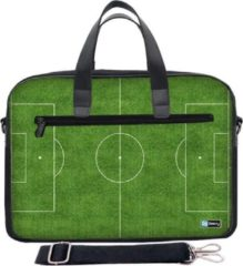 Groene Laptoptas 15,6 inch / schoudertas voetbalveld - Sleevy - laptoptas - schooltas