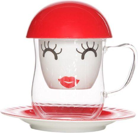Afbeelding van Witte Cosy&Trendy Cosy en Trendy Tisaniere 4-dlg Mrs. Red D15xh14.5cm (ondertas-glas-zeef-deksel) - (Set van 6) En Yourkitchen E-kookboek - Heerlijke Smulrecepten