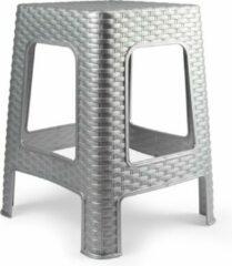 Forte Plastics Rotan opstapje/krukje in het zilver - 36 x 36 x 45 cm - Keuken/badkamer/slaapkamer handige krukjes/opstapjes