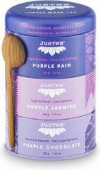Trio Purple Tea - JUSTEA - 102 gram/90 kop - Purple Rain - Purple Jasmine - Purple chocolate - Theekado - Fairtrade - Biologische losse thee.