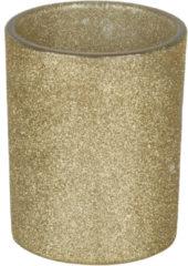 Goudkleurige Bellatio Decorations 1x Gouden Theelichthouders/waxinelichthouders Glitter 10 Cm - Kaarsenhouders/lantaarns - Sfeer Lichtjes