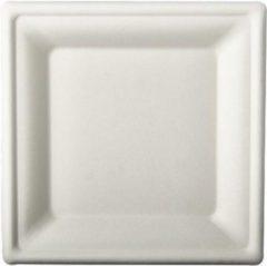 Pure - Disposable Tableware 12x Witte suikerriet lunchbordjes 20 cm biologisch afbreekbaar - Vierkante wegwerp bordjes - Pure tableware - Duurzame materialen - Milieuvriendelijke wegwerpservies borden - Ecologisch verantwoord