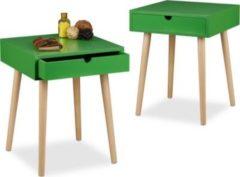 Relaxdays 2x Nachttisch Set ARVID Nachttische Holz grün lackiert Schublade Nachtschrank