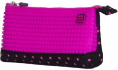 Roze PIXIE CREW etui met siliconen zijkant 20 cm fuchsia/zwart