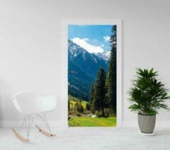 Blauwe Kimano Deurposter - luxe trendy deursticker - Bergen met gras - 93x201,5 cm (ook andere maten leverbaar)