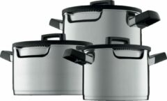 Zilveren BergHOFF Downdraft kookpannenset - 3 delig - RVS - Veilig afgietsysteem