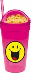 Zak!Designs Smiley 2.0 Snack & Drinkbeker - Polypropyleen - 300 ml - Happy - Roze
